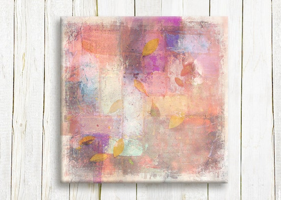 Pink Abstract Art Printed On Canvas Pastel Colors On