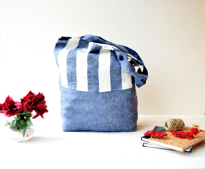 beach bag sac cabas canvas tote flax sac en lin Canvas tote bag Shopper bag Light blue tote farmers market bag market Bag Linen bag