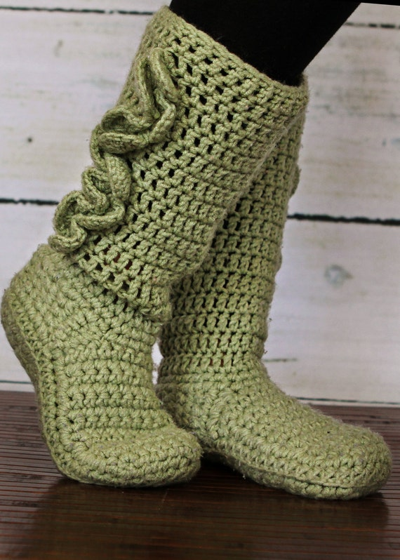 Adulto ganchillo zapatillas botas   Etsy