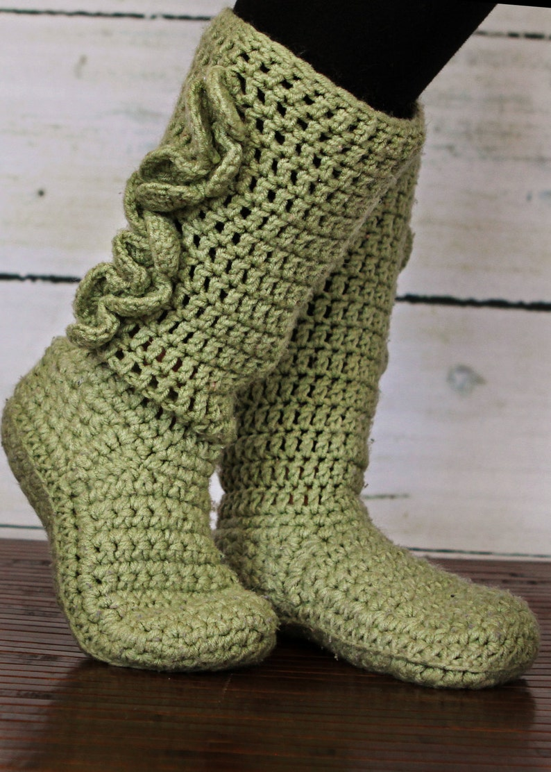 Adult Crochet Slipper Boots image 0