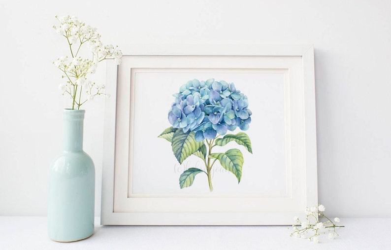 Blue Hydrangea Home Decor Printable Watercolor Painting