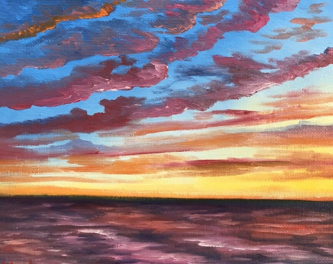 Original Sunrise oil painting Nicolae rainbow seascape Art Ocean Nicole Smith Artist 8x10