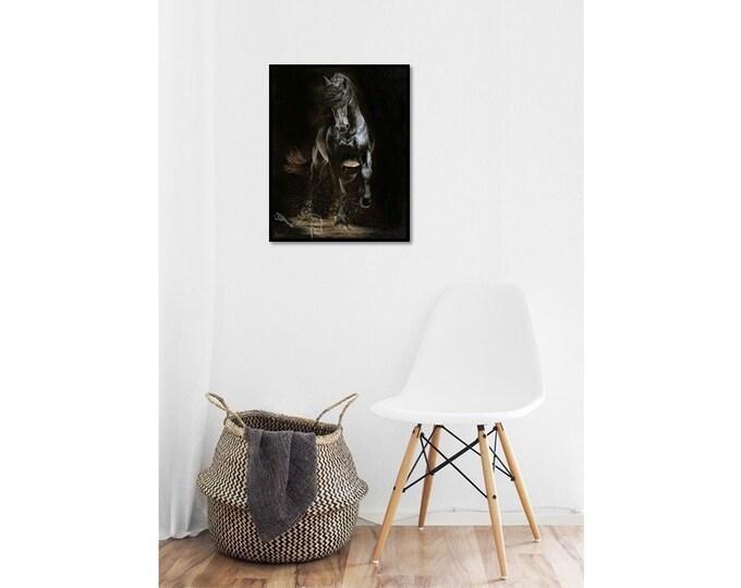 "Nicole Smith Original Artist Horse Oil Painting on canvas Art Equine Friesian ""Shadow Step"" 22x28"