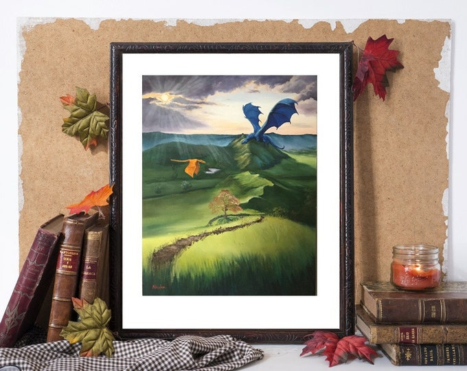 "fine art fantasy dragon giclee print 11x14 ""valley of dragons"""