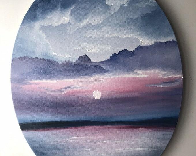 OVAL Original Sunrise oil painting Nicolae rainbow seascape Art Ocean Nicole Smith Artist 11x14