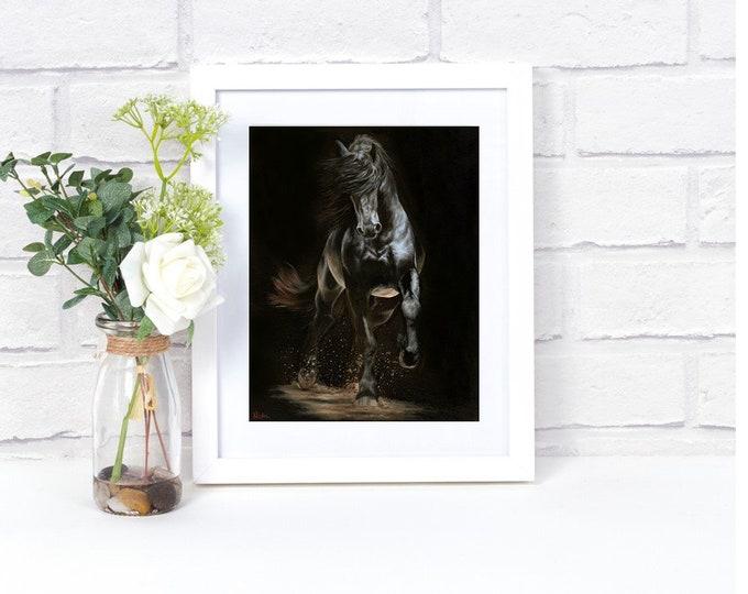 "Nicolae Equine Art Nicole Smith horse artist Fine art high quality Giclee reproduction of original artwork ""Shadow Step"" 11x14"