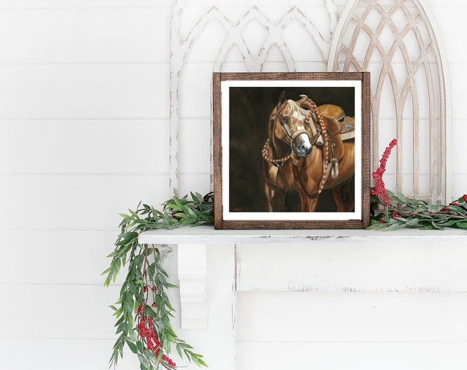 "Nicole Smith Artist Horse Art Original Equine Giclee reproduction high quality print ""Western Dunalino"" 14x14"