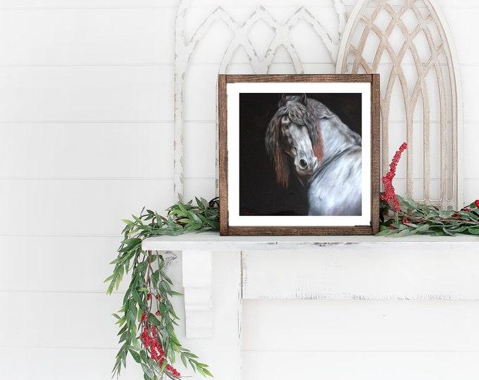 "Nicolae Equine Art Nicole Smith horse artist Fine art high quality Giclee reproduction of original artwork ""Friesian Portrait"" 14x14"