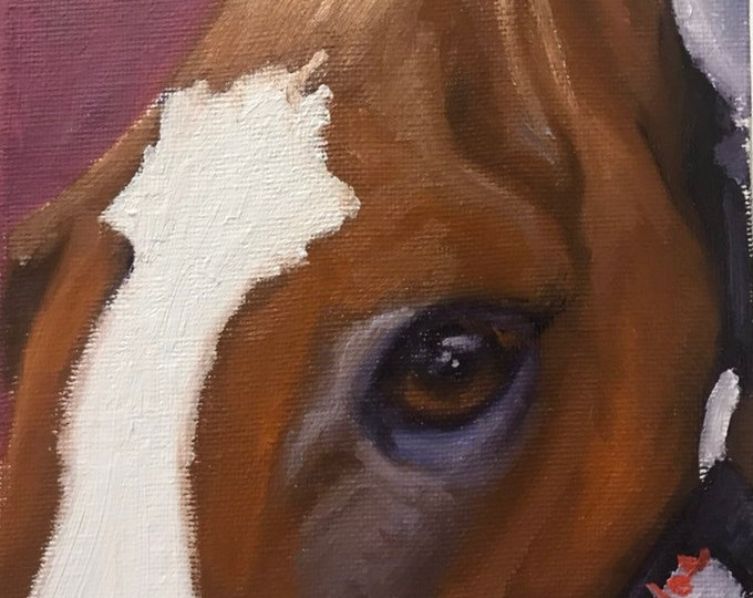 "Original Horse eye oil painting on canvas by Nicolae Art ""Chestnut mauve soul sketch"" 6x6"