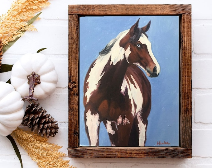 Original horse oil painting Nicolae Equine Art Paint horse Nicole Smith Artist 8x10