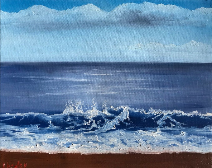 Original ocean oil painting Nicolae seascape Art Ocean waves sky blue water Nicole Smith Artist 8x10