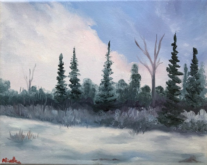 Hand painted Original oil painting winter landscape Nicolae Art Nicole Smith Artist 8x10