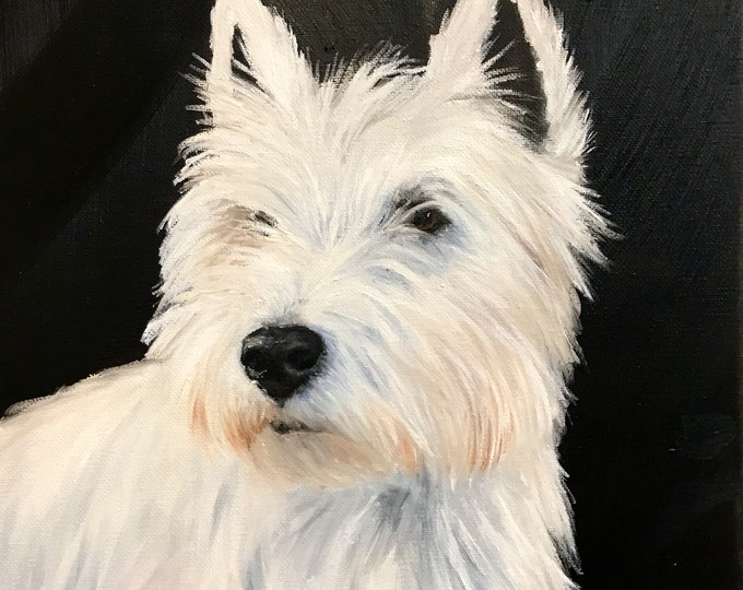 Original Westie canine dog artwork oil on canvas Nicolae Art Artist Nicole Smith  12x12