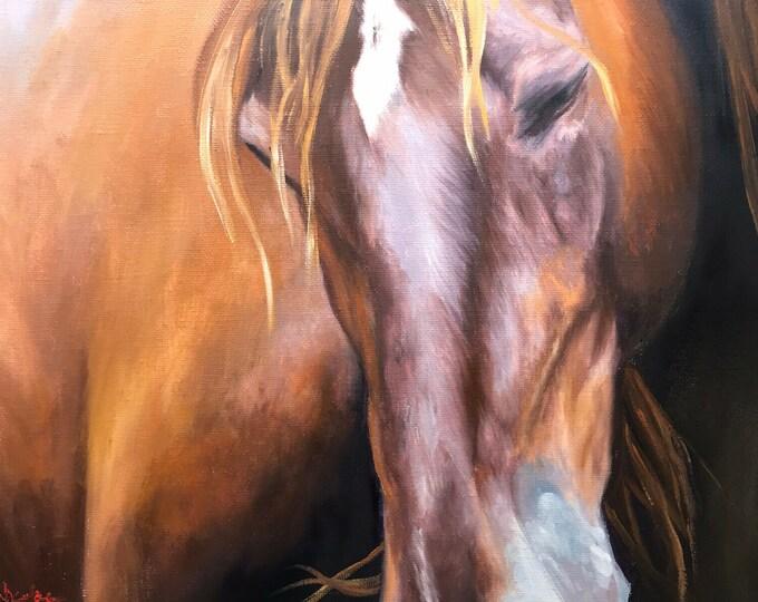 Original horse oil painting Nicolae Equine Art Chestnut horse Nicole Smith Artist 11x14