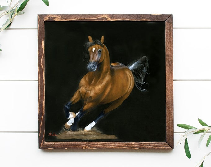 original Arabian Horse oil painting by Nicolae Art 20x20 wall art