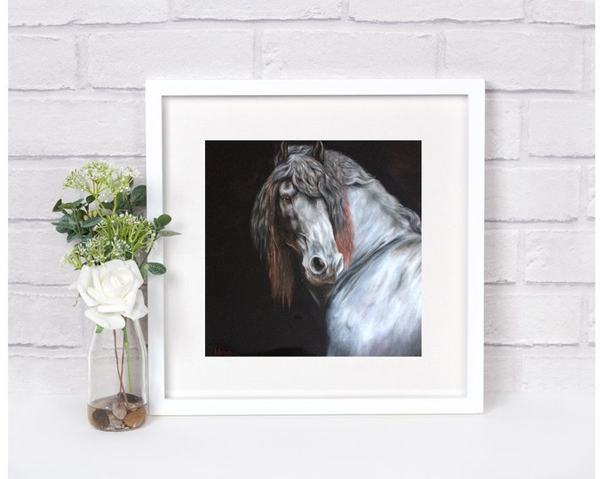 "Nicolae Equine Art Nicole Smith horse artist Fine art high quality Giclee reproduction of original artwork ""Friesian Portrait"" 10x10"