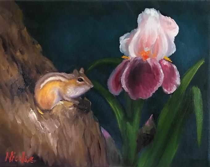 Original oil painting Nicolae Art small animal chipmunk iris floral Nicole Smith Artist 8x10