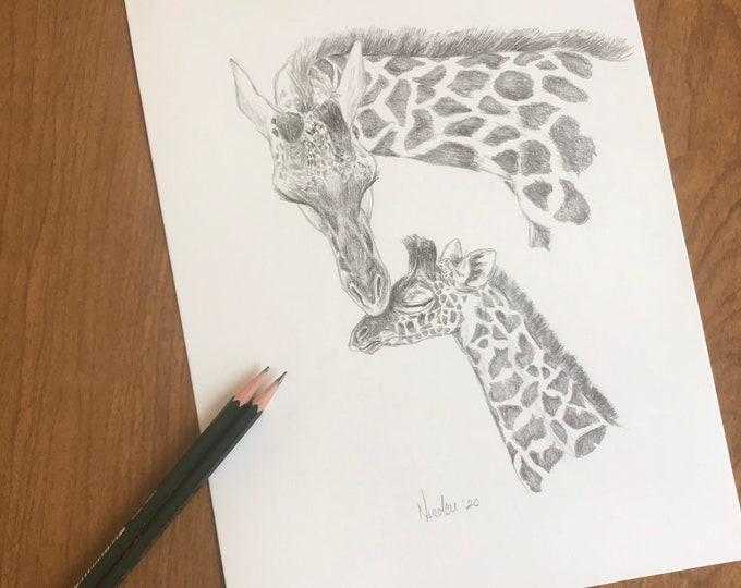 Original animal pencil drawing Nicolae Art artist Nicole Smith giraffe sketch 9x12