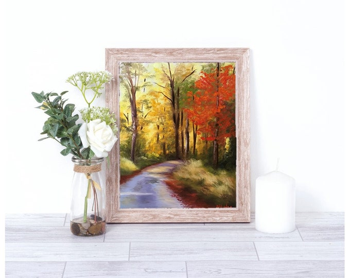 Original Autumn landscape oil painting Nicolae Art Fall colors Nicole Smith Artist 11x14