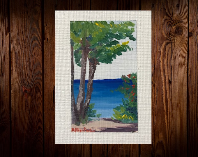 "Original Oil painting ACEO mini artwork Nicolae Art Nicole Smith Artist Tropical ocean seascape 2.5""x3.5"""