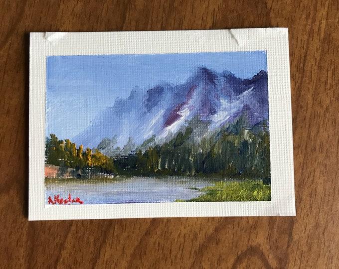 "Original Oil painting ACEO mini artwork Nicolae Art Nicole Smith Artist Landscape mountains 2.5""x3.5"""
