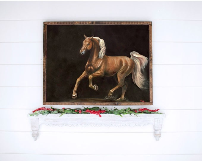 original horse painting American Saddlebred oil on canvas by Nicolae Art
