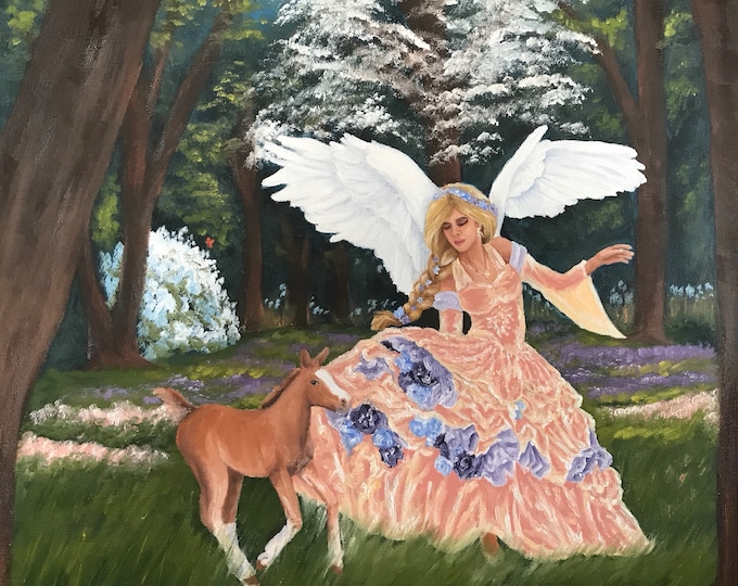 Original oil painting Angel horse Nicolae Art Nicole Smith Artist 20x20