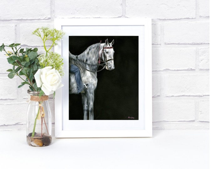 "Nicolae Equine Art Nicole Smith horse artist Fine art high quality Giclee reproduction of original artwork ""Did I win?"" 11x14"