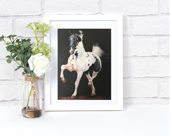 "Saddlebred art print equine wall art Giclee print of original horse painting ""Snowy Harlem"" 11x14"