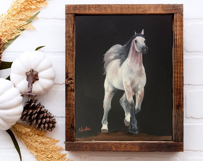 Horse Art dapple Arabian horse original oil painting on canvas 8x10 by Nicole Smith