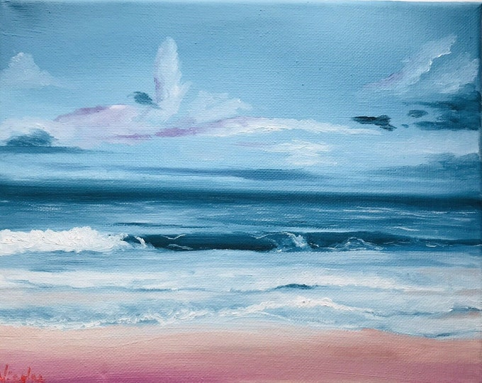 Original Beach oil painting Nicolae turquoise vacation Art Ocean Nicole Smith Artist 8x10