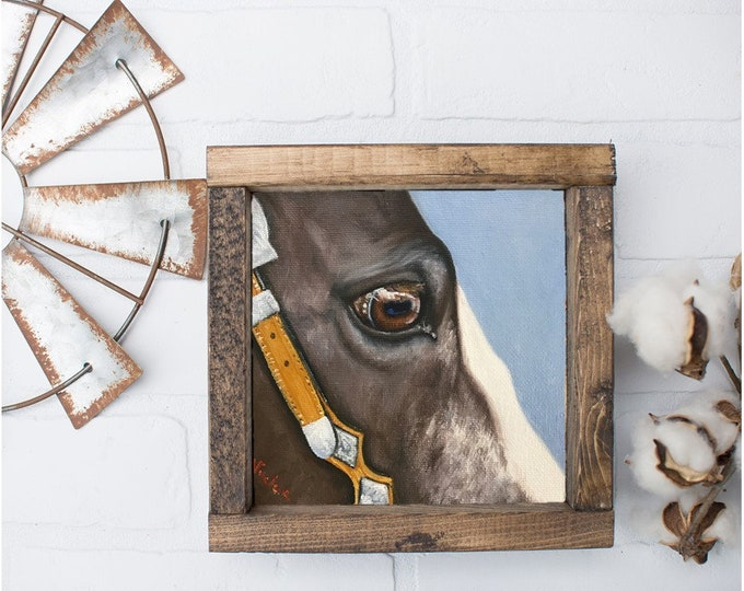 "Original Horse eye oil painting on canvas by Nicolae Art ""Freckled Soul"" 6x6"