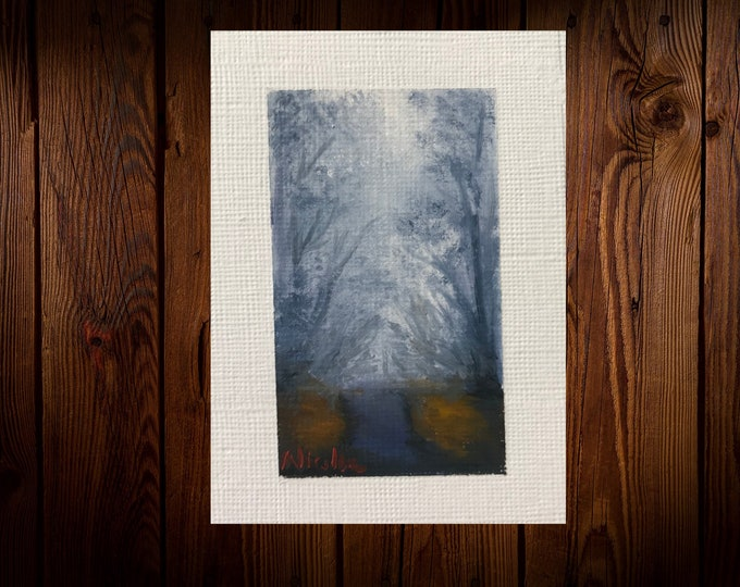 "Original Oil painting ACEO mini artwork Nicolae Art Nicole Smith Artist Foggy Landscape 2.5""x3.5"""