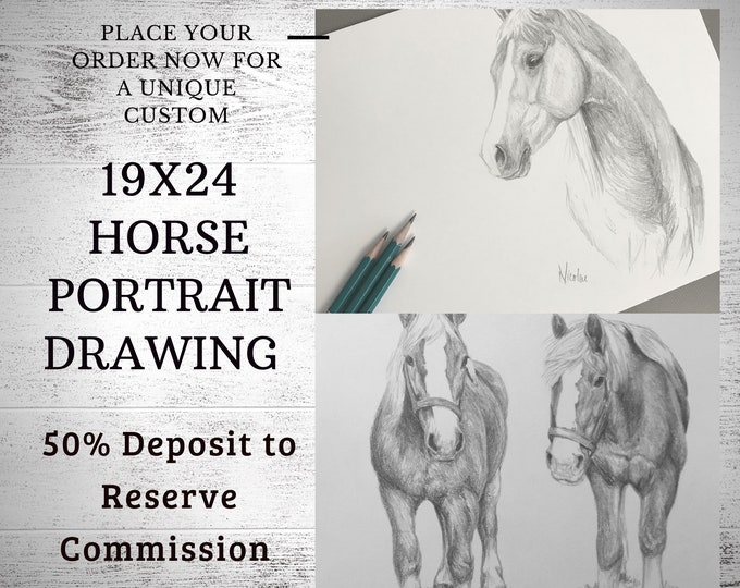 Custom horse drawing 19x24 50% initial deposit to reserve pencil art commission