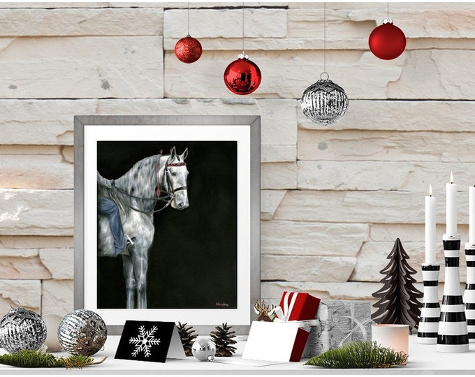"Nicolae Equine Art Nicole Smith horse artist Fine art high quality Giclee reproduction of original artwork ""Did I win?"" 11x14"