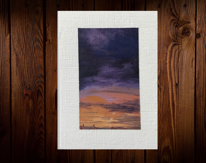 "Original Oil painting ACEO mini artwork Nicolae Art Nicole Smith Artist Sunset clouds 2.5""x3.5"""