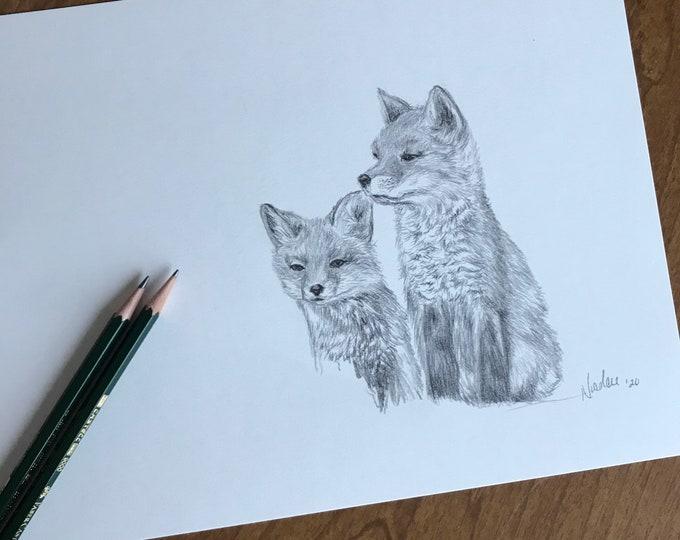 Original fox pencil drawing Nicolae Art artist Nicole Smith sketch 9x12
