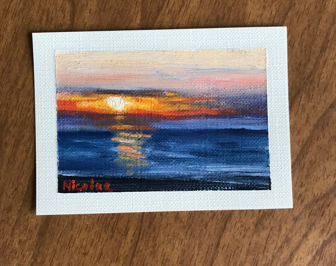 "Original Oil painting ACEO mini artwork Nicolae Art Nicole Smith Artist Landscape ocean seascape 2.5""x3.5"""
