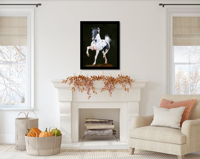 """Original Saddlebred Horse Oil Painting on canvas by Equine Artist Nicole Smith """"Snowy Harlem"""" 24x30"""
