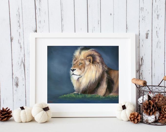 "Lion art print African safari big cat Giclee reproduction high quality print artist Nicole Smith ""Pale King"" 11x14"