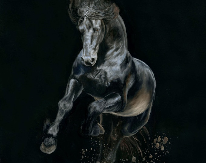 "Nicolae Equine Art Nicole Smith horse artist Fine art high quality Giclee reproduction of original artwork ""Shadows and Dust"" 14x14"