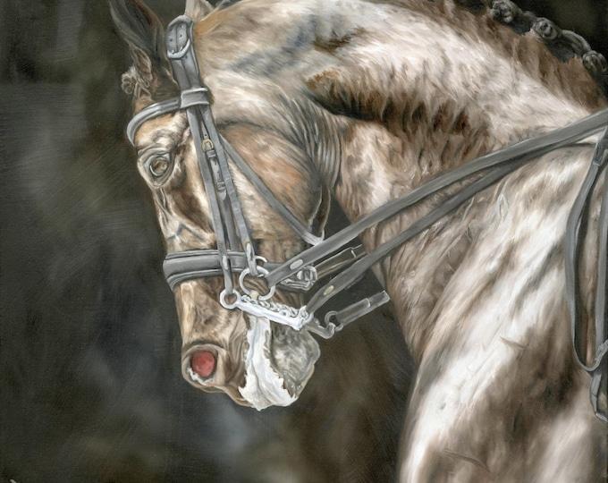 """Nicolae Equine Art Nicole Smith Artist Horse Original Equine Giclee reproduction high quality print """"Precision"""" 14x14"""