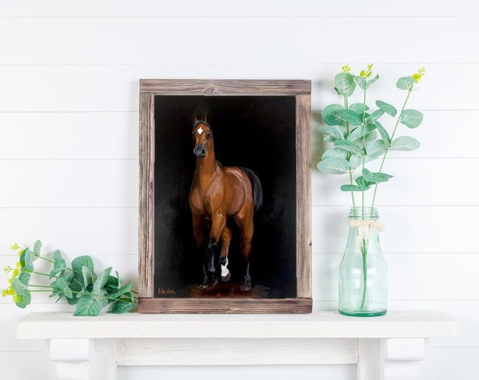 Original horse oil painting Nicolae Equine Art Arabian horse Nicole Smith Artist 8x10