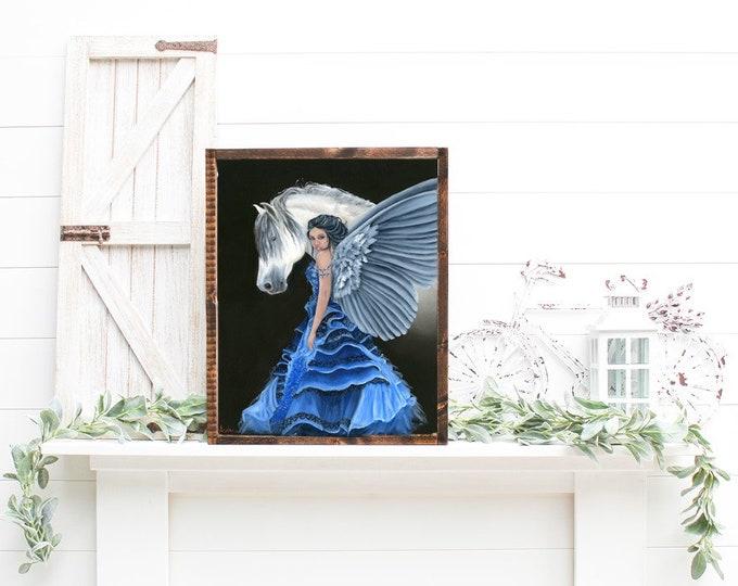 Original oil painting Angel horse Nicolae Art Nicole Smith Artist 16x20
