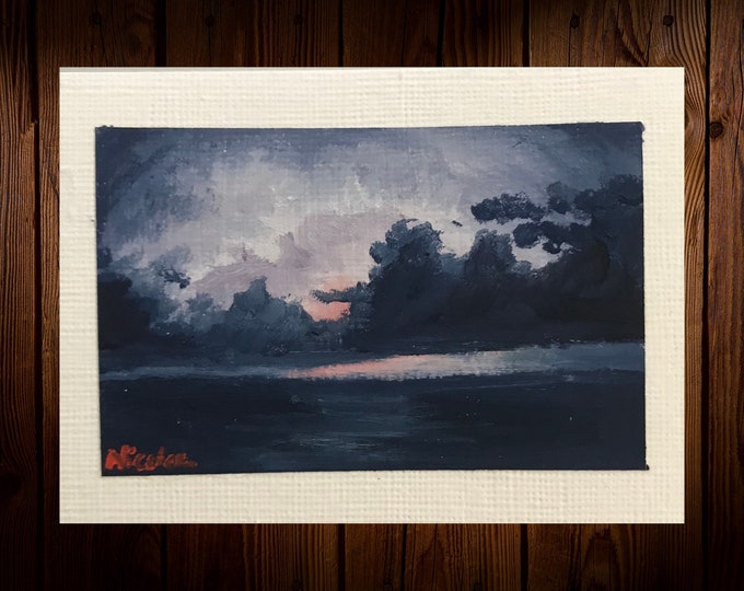 "Original Oil painting ACEO mini artwork Nicolae Art Nicole Smith Artist Sunrise ocean seascape 2.5""x3.5"""
