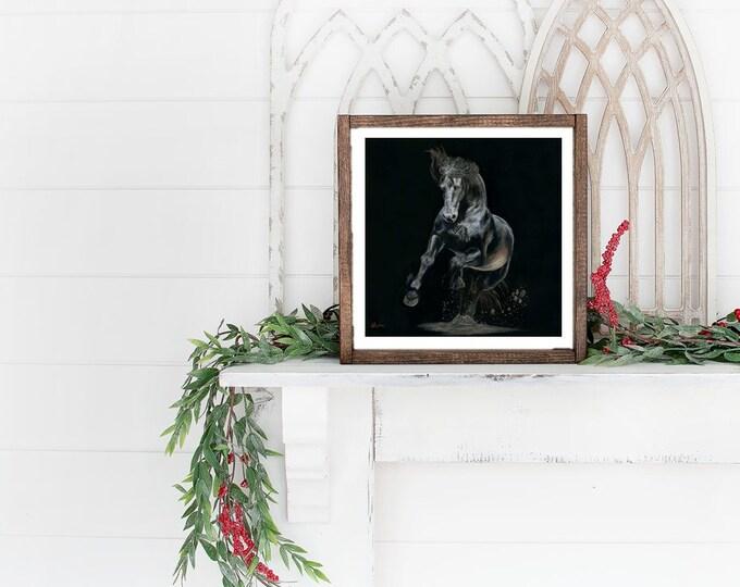 "Nicolae Equine Art Nicole Smith horse artist Fine art high quality Giclee reproduction of original artwork ""Shadows and Dust"" 10x10"