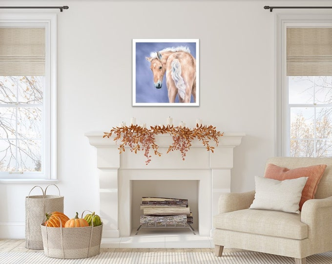 """Original artwork Horse oil painting by Nicole Smith """"Aurelius the Golden One"""" 20x20 equestrian wall art"""