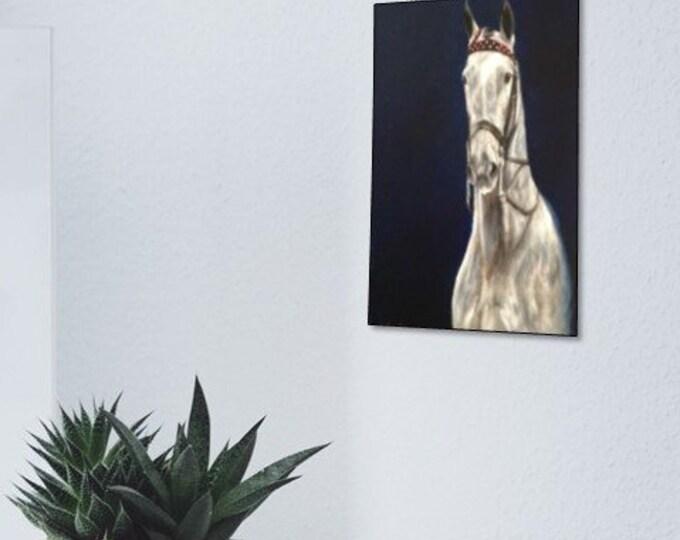 Original horse oil painting Nicolae Equine Art Saddlebred Saddleseat Dapple Gray  Nicole Smith Artist 8x10