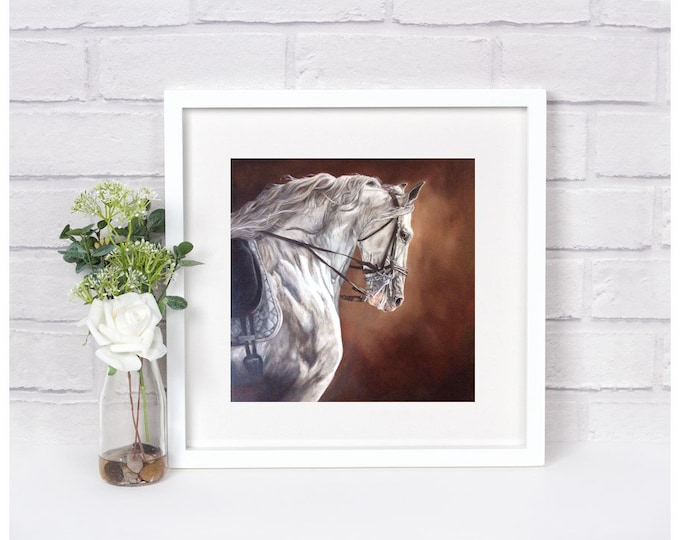 "Horse Art Print High Quality Equine art ""Andalusian Templado"" 14x14"