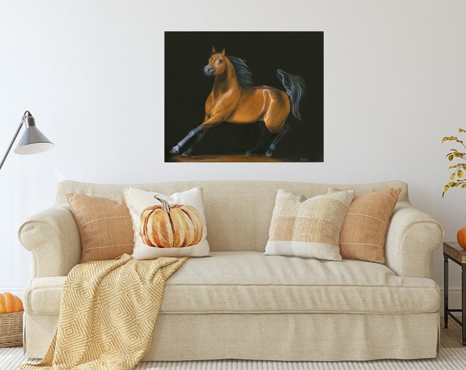 "Original equine art horse oil painting Arabian horse ""Chasing the Desert Wind"" 24x30"